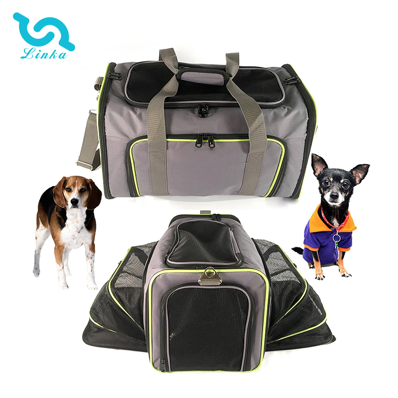 LINKA brand airline approved quality expandable grey portable soft foldable pet carrier