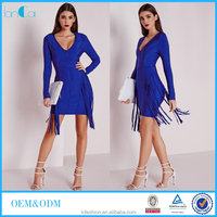 Newest bandage dress for office lady blue fringed long sleeve midi dress for career women