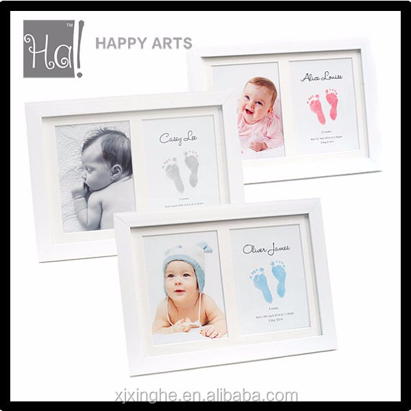 Custom newborn clay baby handprint and footprints photo frame