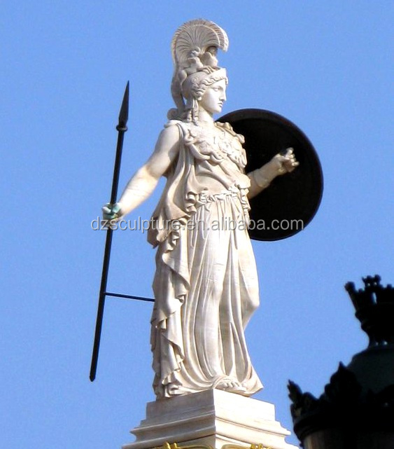 Holy greek goddess resin Athenna statue with holding shield