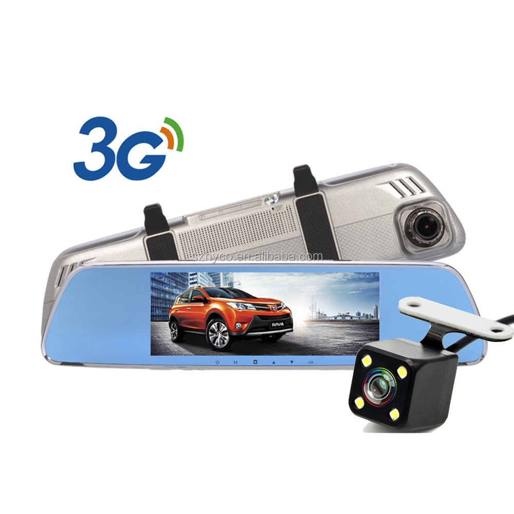 3G car rearview mirror camera dvr with gps navigation