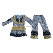 2014Hot Sale Baby Long Sleeve Top And Ruffle Pant Set Winter Cheap Clothing Set For Kids Casual Party Outfit Clothes Set