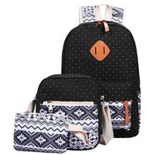 Ecoparty for Teenage Bookbags Laptop Backpacks Female Bagpack Sac 3 PC/Set Stylish Canvas Printing Backpack Women School Bags