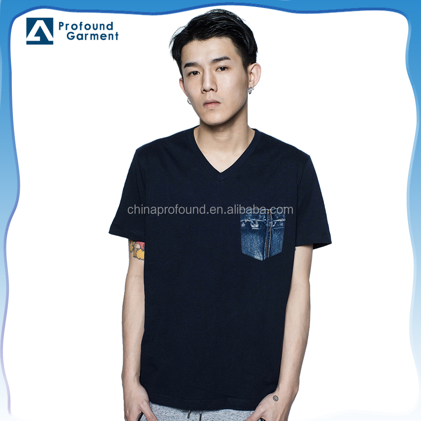 blank fitted hot basic private label couple t-shirt plain lot sales 100% cotton with jeans embroidery pocket manufacturer china
