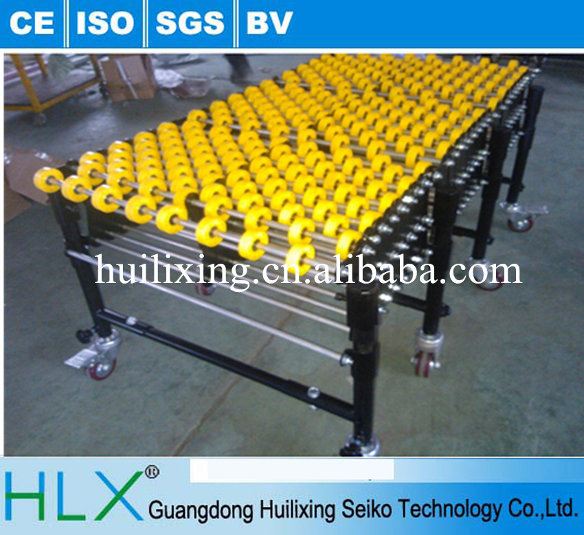 Expandable conveyor - skate wheel / roller wheel extendable flexible conveyor