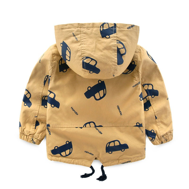 Wholesale Clothing Stock Kids Car Printed Winter Jackets With Hood From ZheJiang