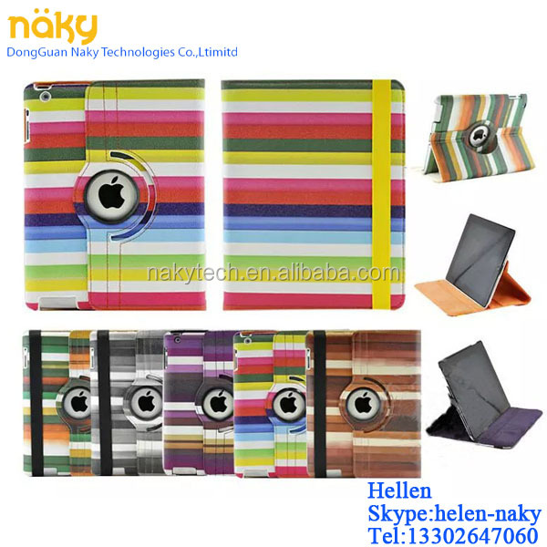 For iPad 2/3/4/5/6 360 Rotating Rainbow colour PU Leather Case Smart Cover Stand
