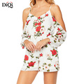 Soft Chiffon Fabric Summer White Cold Shoulder Sexy Floral Women Playsuit
