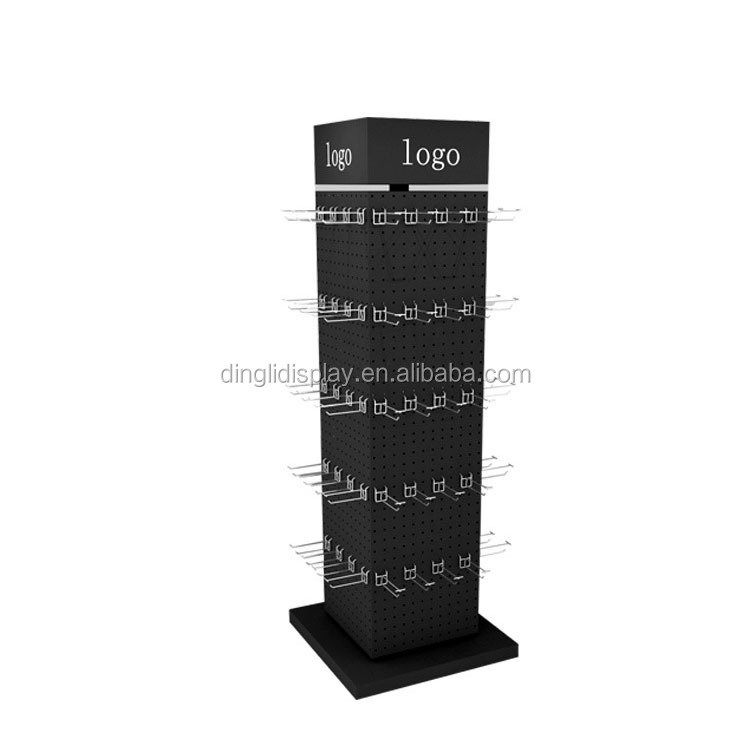 Metal Floor Standing Movable Rotating 4 Sided Display Stand