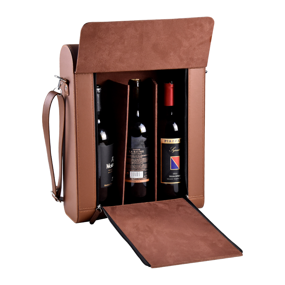 Luxurious three bottle wine box for gift