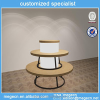 three-layers clothes retail round wood display table