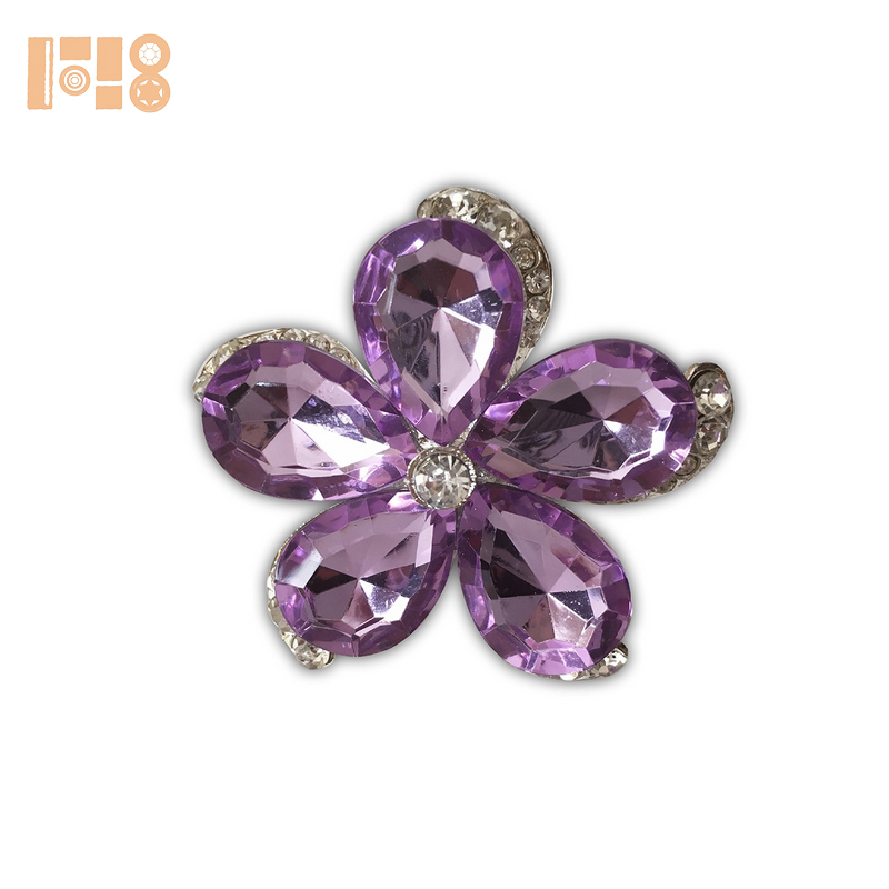 Well Finished Flower Shaped Napkin Rings - Silver Plated with Purple Crystal and Sparkling Rhinestones in Each Petal