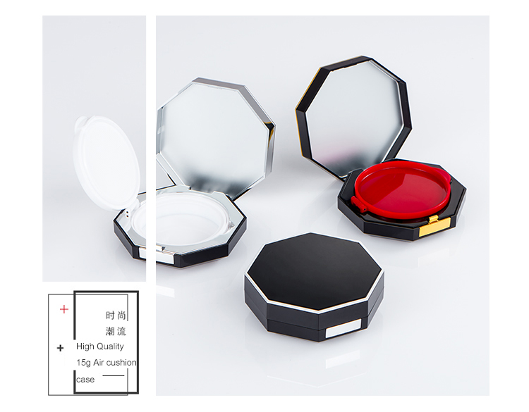 15g Good quality makeup packaging empty luxury octagonal air cushion box for BB CC cream packaging case container