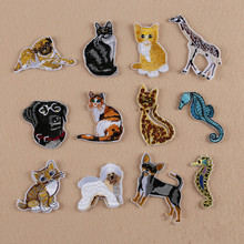Cute Carton Animal Patch Dogs Cats Parches Iron on Cheap Embroidered Diy Patches for Clothes Badges Jeans Applique