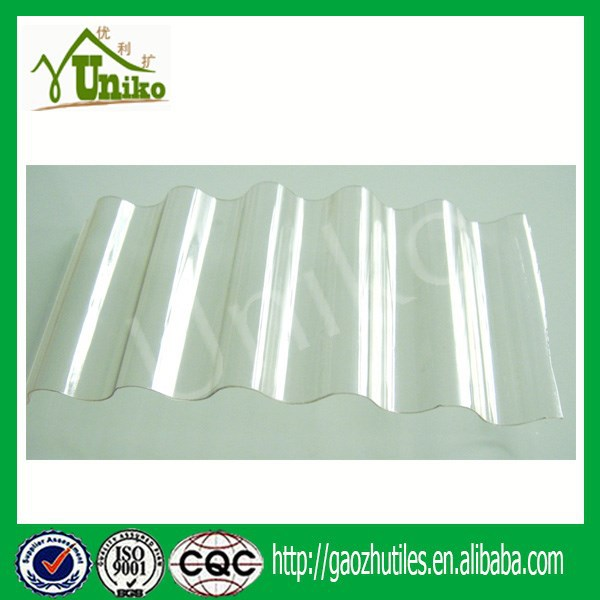 0.8mm Thickness Frosted Polycarbonate Corrugated Roofing Panel PC Wave Sheet Skylight UV Coating 930mm