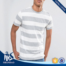 New Trending Guangzhou Shandao OEM Brand Manufacturers Custom Stylish Casual Sham Pocket Stripe Short Sleeve O-Neck T Shirt