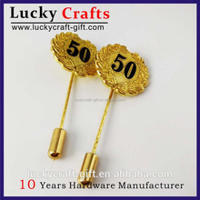 Pins custom your logo metal gold plating long needle lapel pin