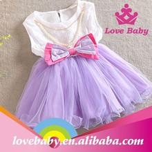 Kids butterly lovebaby lace chiffon material purple and turquoise dress
