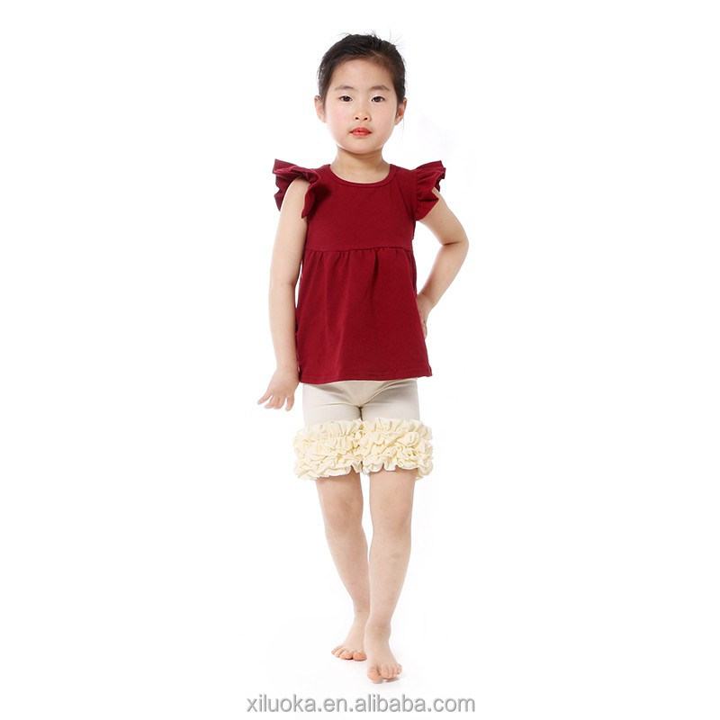 Wholesale girl boutique clothing ruffles design solid color children outfits