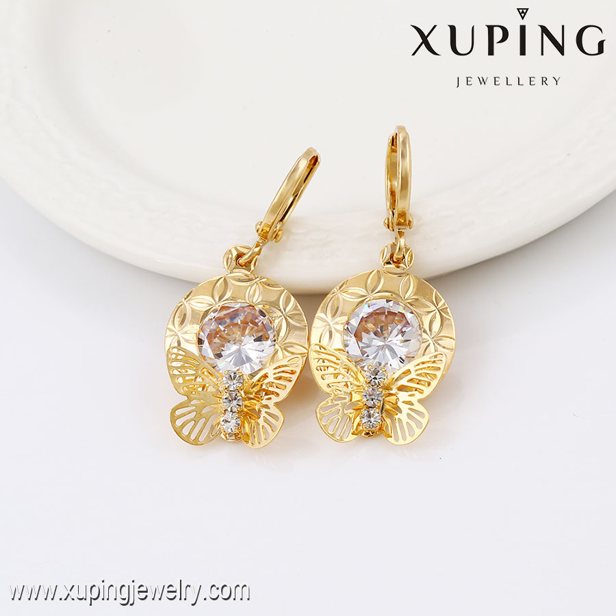 91366- Xuping Jewelry Fahion Woman Gold Plated Rrop Earrings With Butterfly Shaped