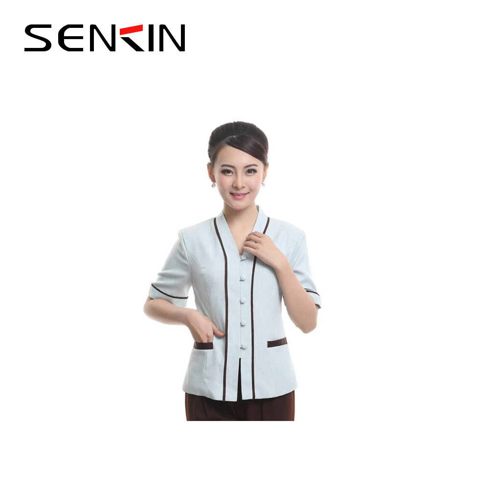 Cheap and comfortable hotel housekeeping cleaner staff uniform for women OEM
