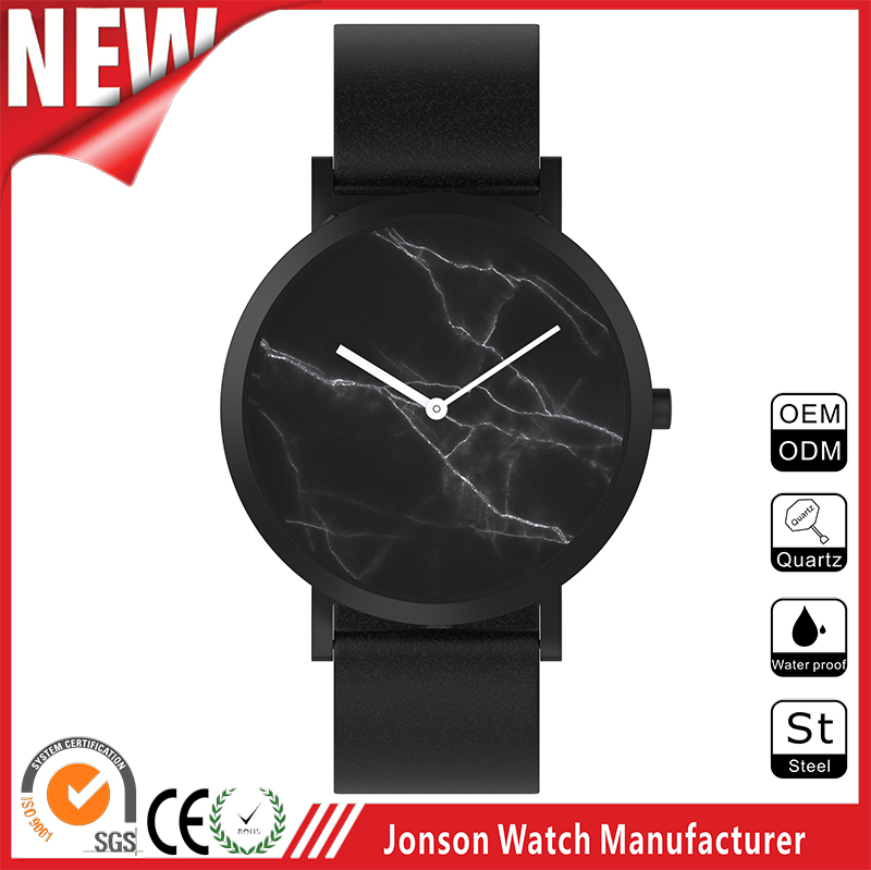 China manufacturer csutom simple marble private label watch japan movt quartz watch stainless steel bezel