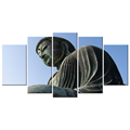 Magnificent Chinese Stone Buddha Photo Canvas Printing Buddhist Canvas Prints Decorative Canvas Wall Art 5 Panels