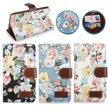 Flowers Pattern Wallet Style Stand TPU+Cloth Textile+PU Leather Case for Galaxy Note 3