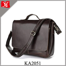 Leather Flapover Shoulder Laptop Messenger Bag with 3 Exterior Pockets and Inner Laptop Compartment