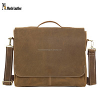 "Office 14"" Laptop Briefcase Vintage Genuine Italian Leather Bag For Men 7108"