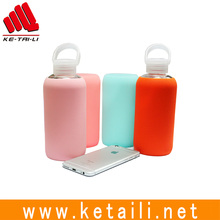 Good quality 350 400 420 600 ml HBG glass bottle with soft protective anti-heat silicone skin cover sleeve & PP screw lid