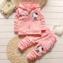 Girls fall with cap set new female baby cotton long sleeved casual children's clothing two sets