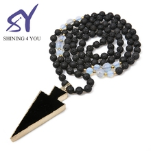 2018 Alibaba The Hot Volcanic Rock Opal Stone Stone Jewelry Folk-Custom Style Bead Necklace With Triangle Pendant For Women