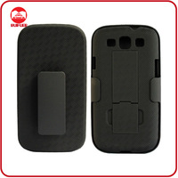 2013 HOT S III i9300 Black Rubberized Hybrid Holster Cover Stand for Samsung Galaxy S3 Belt Clip Case