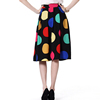 Big Round Dot Print Black Botton Knee Length Crepe Skirt With Chain