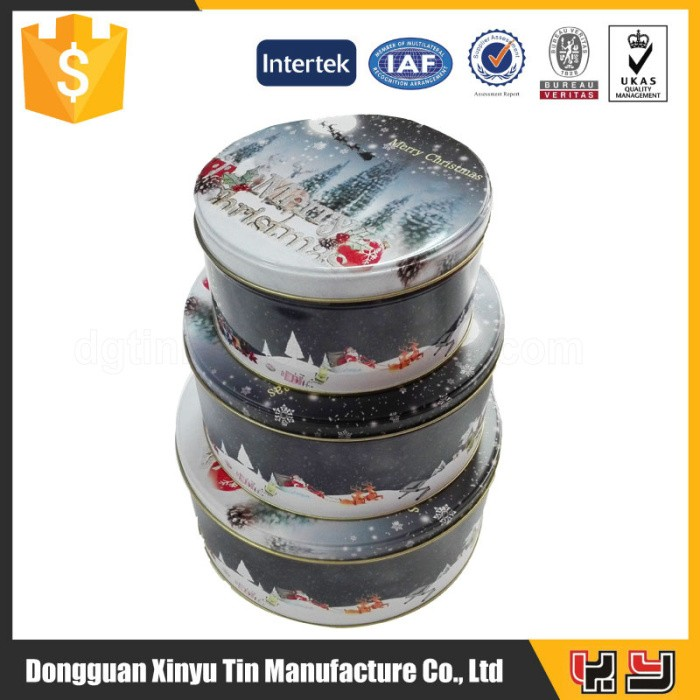 Round metal christmas set tin box wholesale,cookie tin