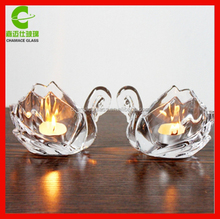 low price beautiful animal swan glass candle holder for decoration