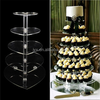 Hot selling desktop 5 tier clear acrylic wedding cake stands