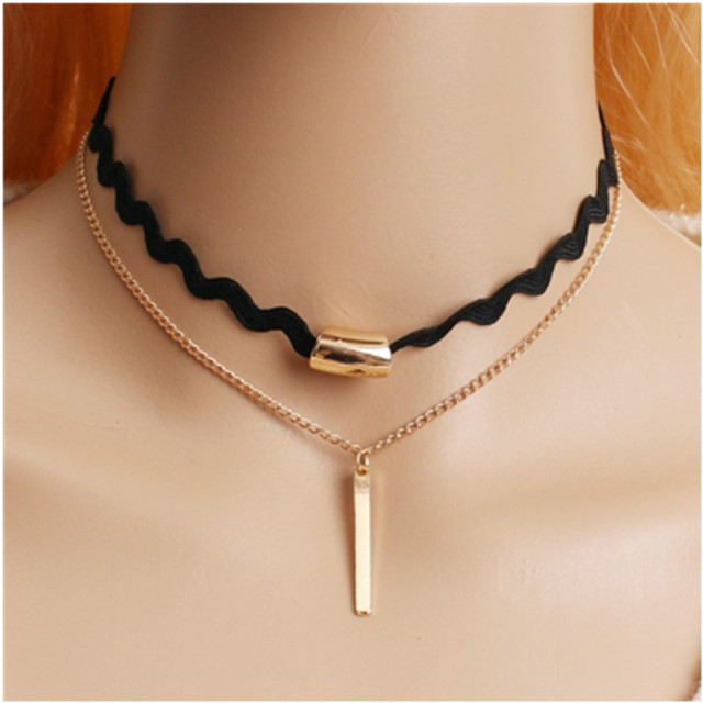 Punk Gothic Black Leather Choker Heart Chain Spike Rivet Buckle Collar Necklace 80's 90's Gift