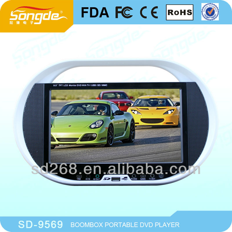 Wholesale factory Red 9.5 inch TFT mini lcd portable dvd player with Game Function