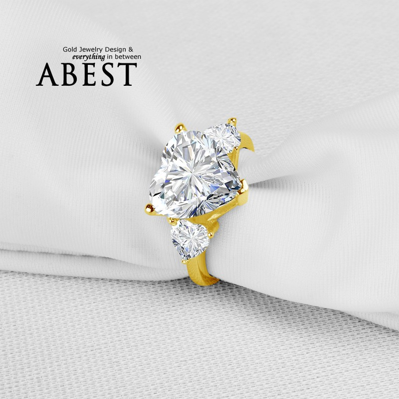 Big 5.0 Carat Heart Shape Stone Ring 10K Yellow Gold Micro Pave Setting Simple Wedding Ring Lady's Fashion Jewelry Ring