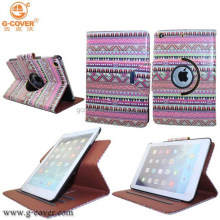 Bohemian style 360 degree rotating case for ipad 6 leather printing case for ipad air 2/ipad 6