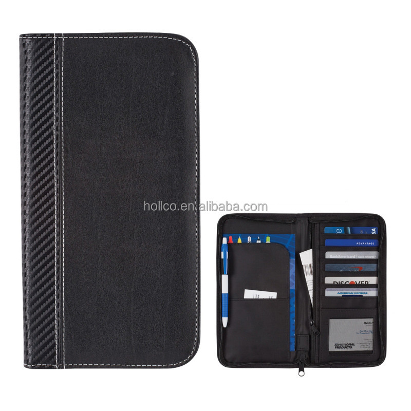 Personalized cheap carbon fiber PVC Passport Holder Travel Organizer Wallet with zipper