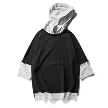 Hot selling men half sleeve fake two piece loose pullover hoodies