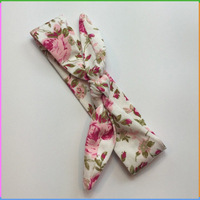 Little Girls Small MOQ Wholesale Flower Print Fabric Headband Head Wrap