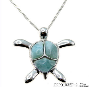 China manufacturer supply sea life jewelry wholesale turtle pendant 925 silver larimar jewelry
