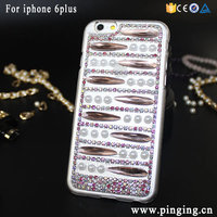 DIY Custom Full Pearl Diamond Bling Bling Transparent PC Case For Iphone 6Plus and 6S Plus Hard Shiny PC Cover