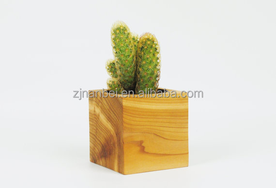 Custom wooden cactus pots,indoor wood planter pot for decorative