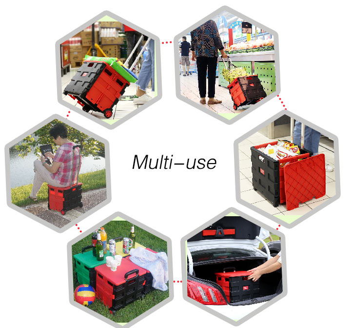 New Product Fashion Outdoor Furniture Folding Garden Beach Plastic Trolley Cart