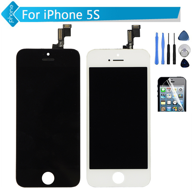 For iPhone 5S Lcd Screen Touch Digitizer Display Assembly Repalcement black white + tools + screen protector